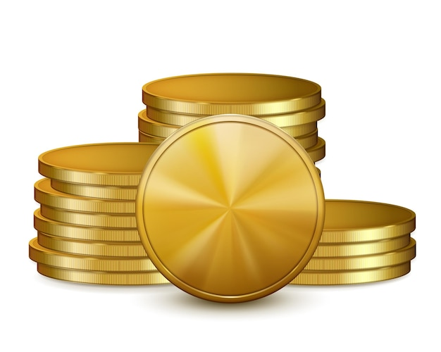 Pilhas de moedas de ouro, isoladas no fundo branco