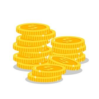 Pilhas de moedas de ouro sobre fundo branco