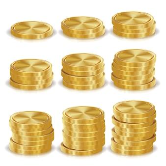 Pilhas de moedas de ouro