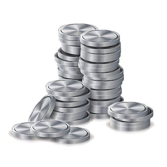 Pilhas de moedas de prata