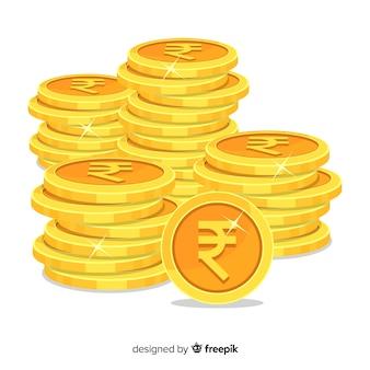 Pilhas de moedas de rupia indiana