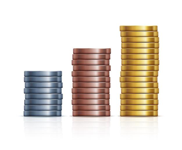 Pilhas de moedas de vetor. moedas de ouro, prata e cobre. finanças, riqueza e negócios de metal monetário