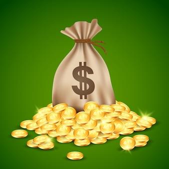 Pilhas de moedas e saco de dinheiro.