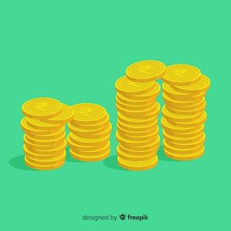 Pilhas de moedas rupias indianas