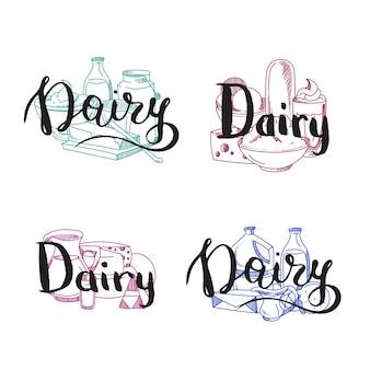 Pilhas de produtos lácteos definidos com letras de laticínios acima deles