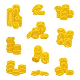 Pilhas diferentes de moedas de ouro. ilustrações vetoriais de dinheiro de ouro