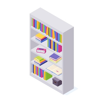 Pilhas isométricas de livros com ilustração de capa dura