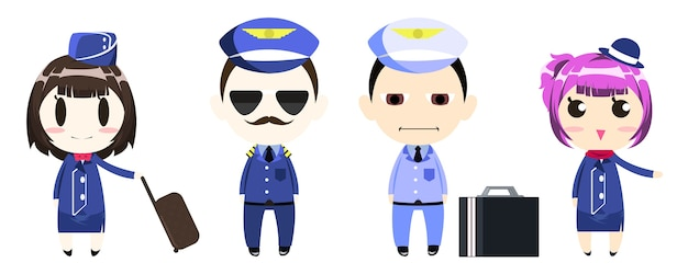 Piloto, capitão, tripulação e aeromoça em personagem de desenho animado uniforme