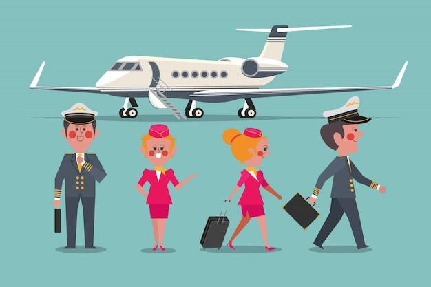 Piloto com a aeronave do comboio de avião personalizado estilo de design de design de personagem