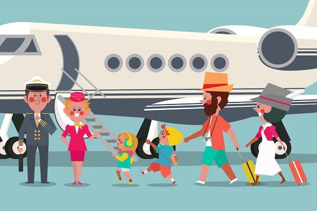 Piloto com atendente de voo e estilo de design de design de personagem familiar de viagem