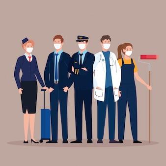 Piloto com grupo de trabalhadores, trabalhadores usando máscara médica contra o coronavírus