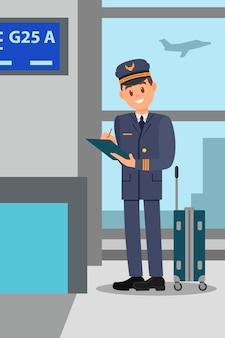 Piloto com mala em pé no terminal do aeroporto. capitão dos desenhos animados, fazendo anotações para a pasta. design plano