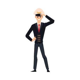Piloto de avião masculino com uniforme preto e chapéu de capitão em pé e saudando