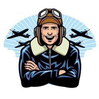 Piloto de guerra mundial sorrindo