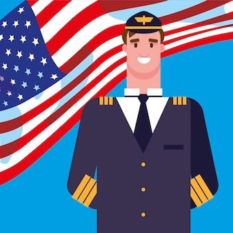 Piloto de homem com bandeira eua