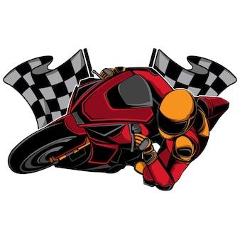 Piloto de moto em curva