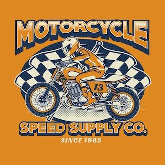 Piloto de motocicleta e bandeira quadriculada