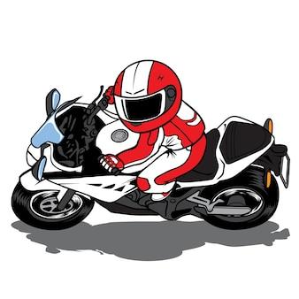 Piloto de motocicleta travagem severa e deslize até o solo
