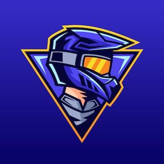 Piloto de motocross, usando design de logotipo de capacete