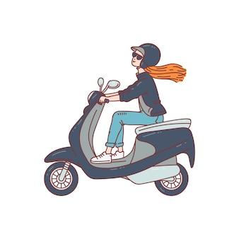 Piloto de scooter feminino - mulher dos desenhos animados com capacete e óculos de sol, montando uma motocicleta scooter em fundo branco. ilustração de transporte urbano.
