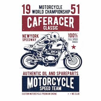 Piloto do café - projeto da motocicleta do vintage - rotulação do vetor - cópia da camisa - a textura do grunge pode facilmente ser removida - eps disponível