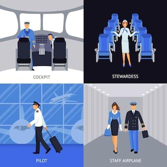 Piloto e aeromoça 4 ícones planas