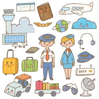 Piloto e aeromoça com equipamentos doodle kawaii