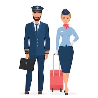 Piloto e aeromoça em ilustração plana isolada uniforme