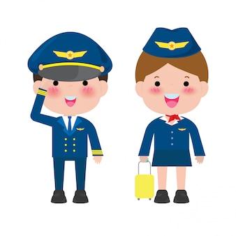 Piloto e aeromoça. oficiais e comissárias de bordo aeromoças isoladas em branco, piloto e aeromoça ilustração.