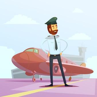 Piloto em um uniforme e plano de fundo dos desenhos animados