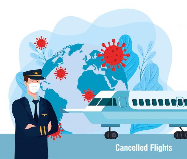 Piloto homem com máscara avião mundo folhas e vírus