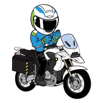 Piloto prepare-se em um vetor de desenhos animados de moto de turismo