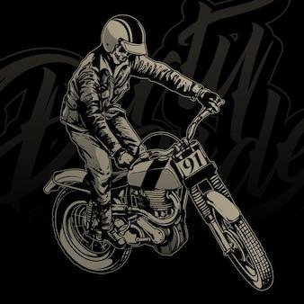 Pilotos de crânio com moto vintage