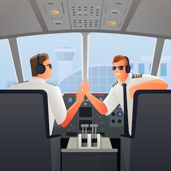 Pilotos na cabine de ilustração plana