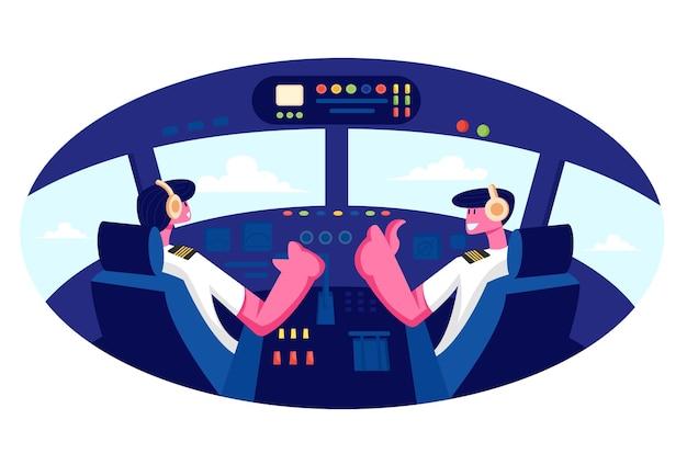 Pilotos sorridentes, usando fone de ouvido e uniforme, sentados nas cadeiras na cabine do avião no aeroporto
