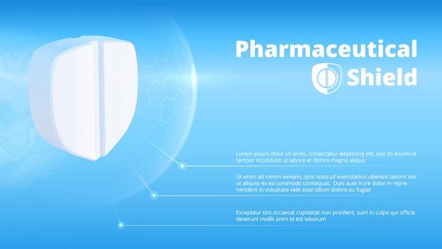 Pílula branca realista em forma de escudo. modelo de cartaz informativo farmacêutico de saúde