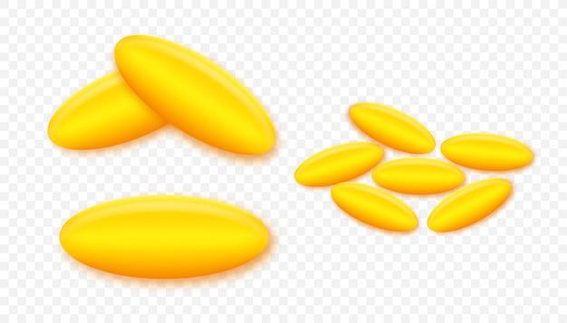 Pílula de óleo de peixe. realista em pano de fundo dourado. ícone para cuidados de saúde. ilustração.