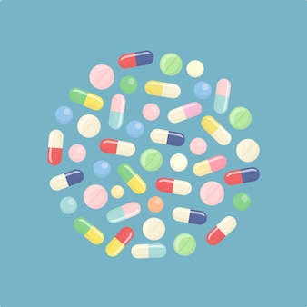 Pílula e comprimidos, medicamento isolado no fundo.