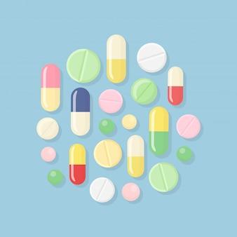 Pílula e comprimidos, remédios. pilha de cápsulas, droga.
