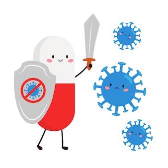 Pílula kawaii bonito com escudo e espada contra vírus.