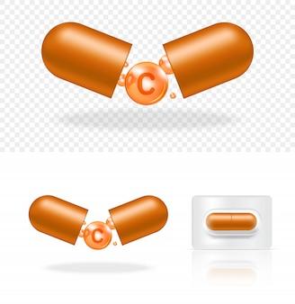 Pílula transparente realista em branco vitamina c medicina cápsula painel. comprimidos médicos e conceito de saúde.