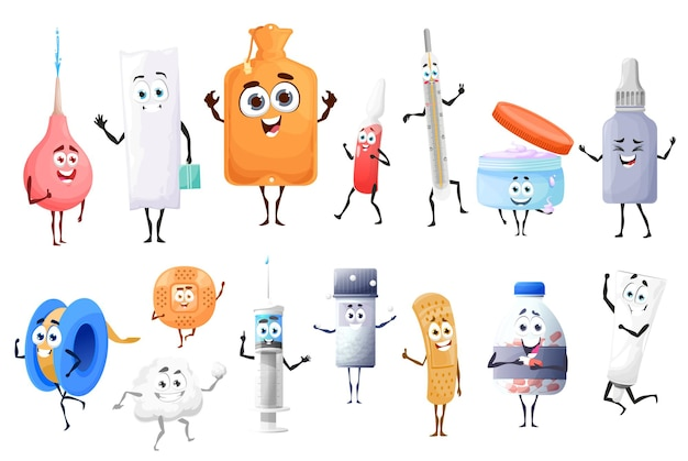 Pílulas de desenho animado, drogas e personagens de medicamentos