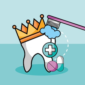 Pílulas de medicina de coroa de dente de escovação e cápsula