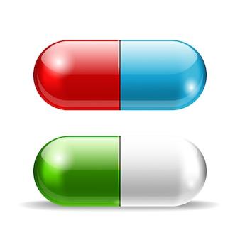 Pílulas de vetor vermelho e azul e verde sobre branco