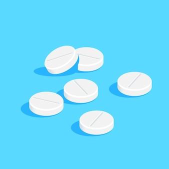 Pílulas e comprimidos de drogas médicas sobre fundo azul. medicação, conceito farmacêutico. ilustração do estilo simples.