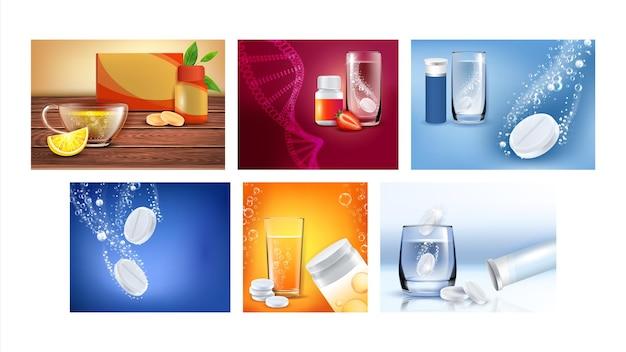 Pílulas efervescentes cartazes promocionais definir vetor. vitaminas para crianças e analgésicos efervescentes, copo d'água e embalagens em branco em banners publicitários. ilustrações de modelo de conceito de estilo