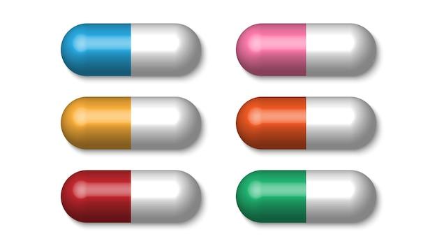 Pílulas médicas coloridas realistas, comprimidos, cápsulas isoladas no fundo branco