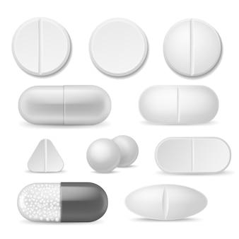Pílulas realistas. comprimidos de medicamento branco.