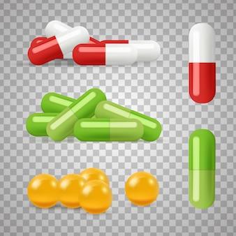 Pílulas realistas. drogas, medicamentos em fundo transparente