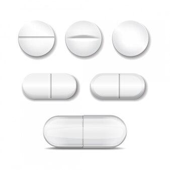 Pílulas realistas em todas as formas e formas.